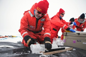 Matt Mills saws  an ice core for the algae at the bottom.