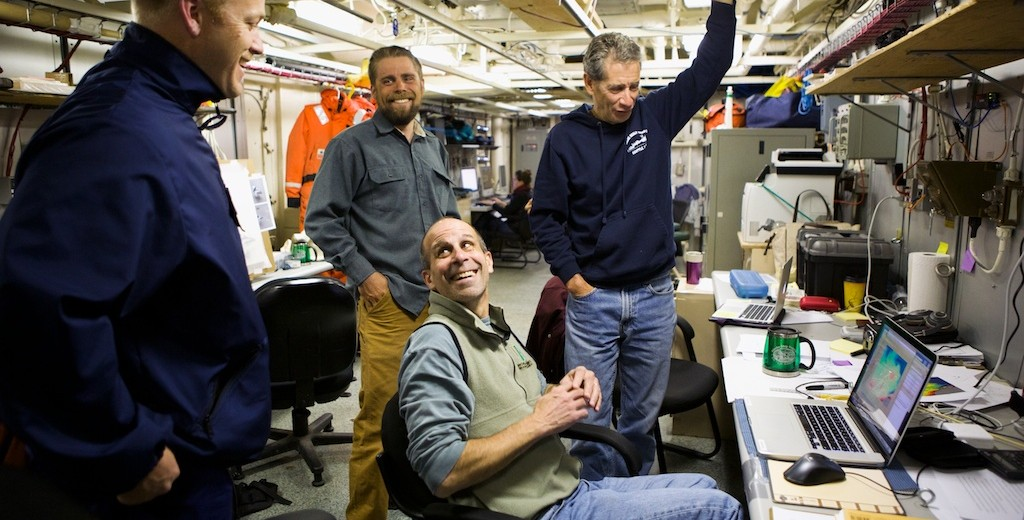 (Left to Right) Jake Cass, Chris Polashenski, Bob Pickart, and Kevin Arrigo during a lighter moment in the planning stage.